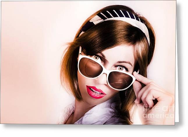 Surprised Retro Pop Art Girl Wearing Red Lipstick Greeting Card