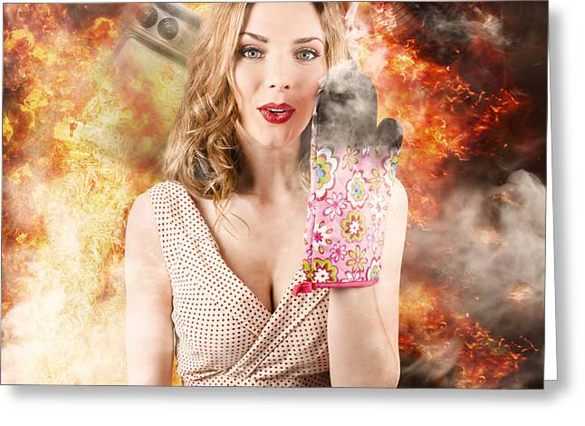 Surprised Woman Cook In Kitchen Fire. Bad Cooking Greeting Card