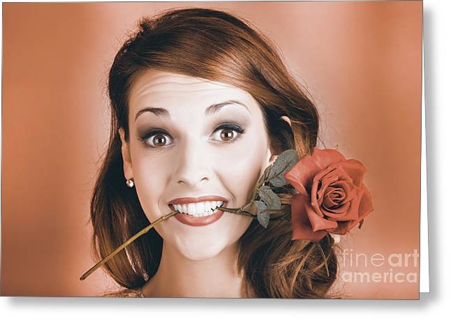 Surprised Young Woman Getting Valentine Flower Greeting Card by Jorgo Photography - Wall Art Gallery