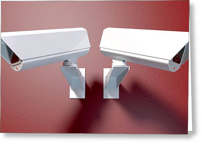 Surveillance Cameras On Red Greeting Card by Allan Swart