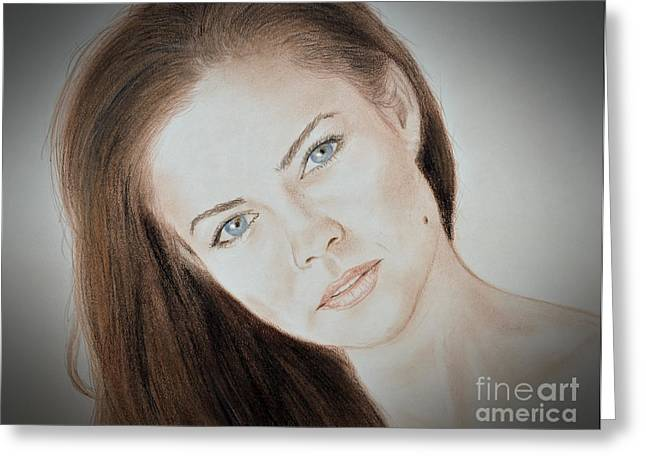 Actress And Model Susan Ward Blue Eyed Beauty With A Mole Greeting Card by Jim Fitzpatrick