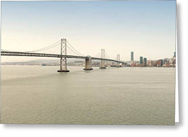 Suspension Bridge Across A Bay, Bay Greeting Card by Panoramic Images