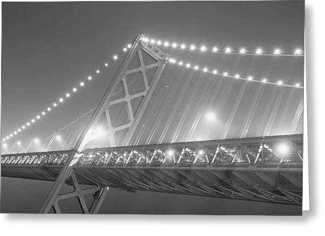 Suspension Bridge Lit Up At Night, Bay Greeting Card by Panoramic Images