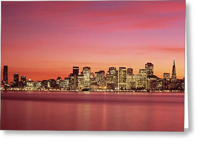 Suspension Bridge With City Skyline Greeting Card by Panoramic Images
