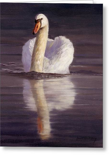 Swan Greeting Card by David Stribbling