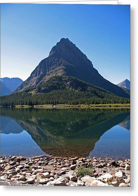 Greeting Card featuring the photograph Swiftcurrent  Lake Many Glacier by Joseph J Stevens