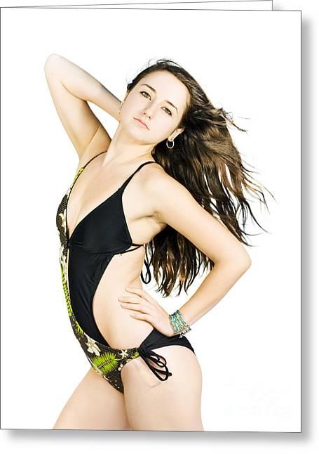 Swimming Fashion Model Greeting Card