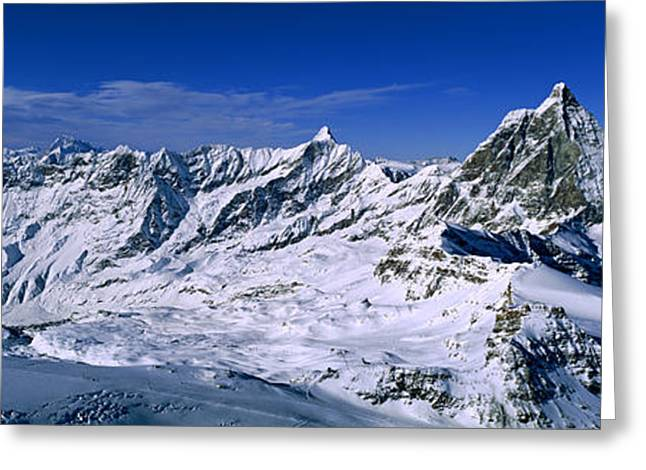 Swiss Alps From Klein Matterhorn Greeting Card by Panoramic Images