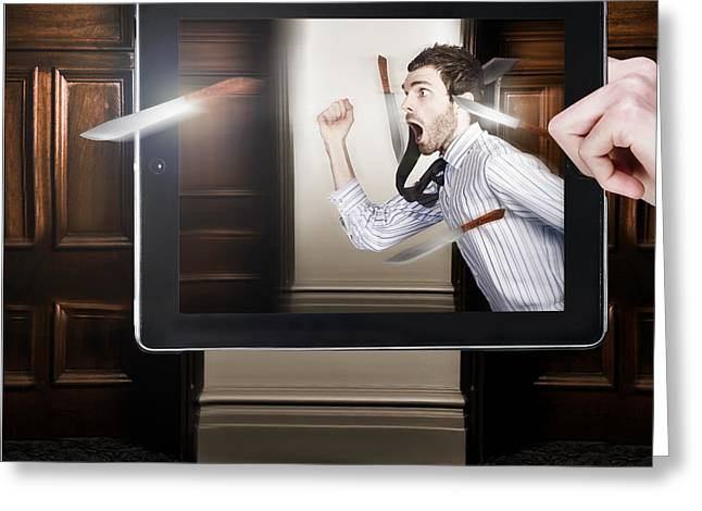 Tablet Display Playing Funny Interactive Movie Greeting Card by Jorgo Photography - Wall Art Gallery
