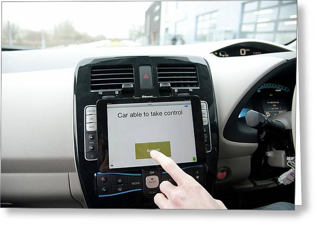 Tablet Interface Of The Robotcar Greeting Card by John Cairns/oxford University Images