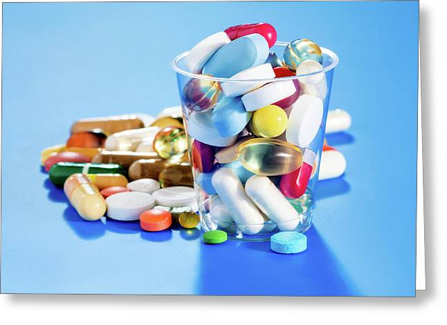 Tablets And Capsules Greeting Card by Wladimir Bulgar