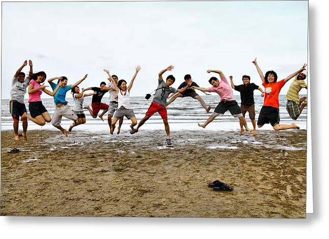 Tagteam Jump Greeting Card by Suradej Chuephanich