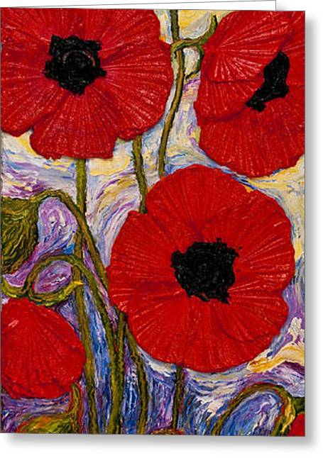 Tall Red Poppies Greeting Card by Paris Wyatt Llanso