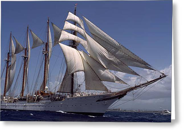 Tall Ship In The Sea, Puerto Rico Greeting Card by Panoramic Images