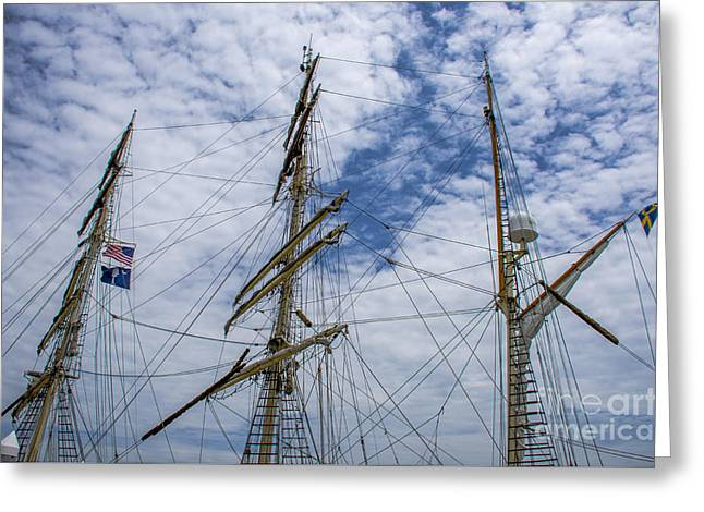 Tall Ship Three Mast  Greeting Card by Dale Powell