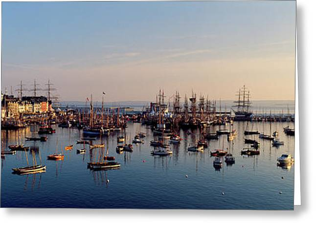Tall Ships At A Harbor At Sunrise Greeting Card by Panoramic Images