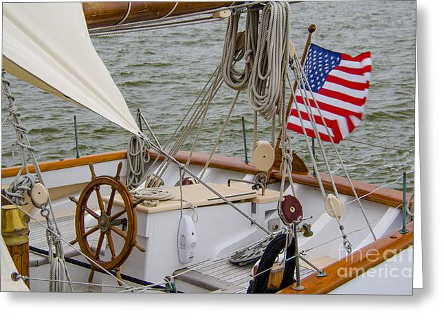 Tall Ship Wheel Greeting Card by Dale Powell