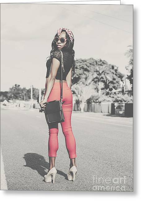 Tall Young Black Woman Modelling Handbag Accessory Greeting Card by Jorgo Photography - Wall Art Gallery