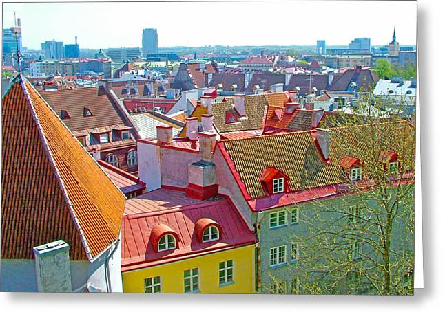 Tallinn From Plaza In Upper Old Town-estonia Greeting Card by Ruth Hager