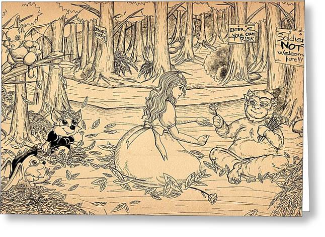 Greeting Card featuring the drawing Tammy And The Baby Hoargg by Reynold Jay