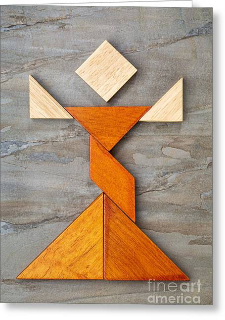 Tangram Dancer Figure Greeting Card