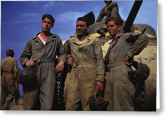 Tank Crew Standing In Front Of An M4 Greeting Card