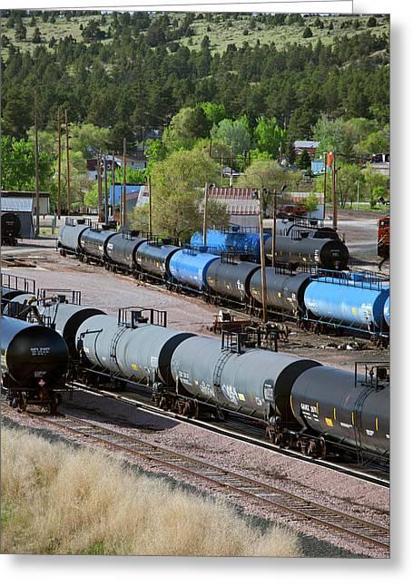 Tanker Cars At Rail Yard Greeting Card