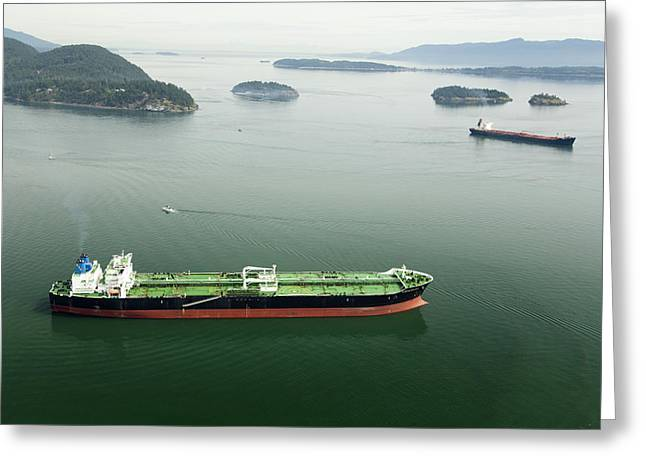 Tanker Ships At Anchor Offshore Of The Greeting Card by Andrew Buchanan/SLP