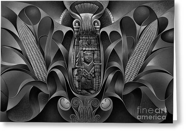 Tapestry Of Gods - Chicomecoatl Greeting Card by Ricardo Chavez-Mendez