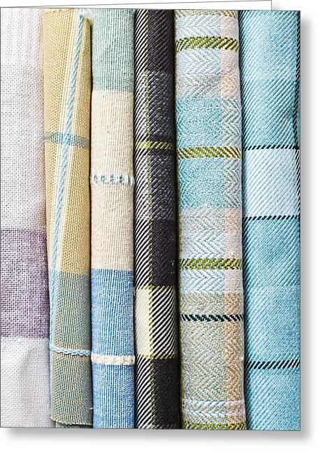 Tartan Fabrics Greeting Card by Tom Gowanlock
