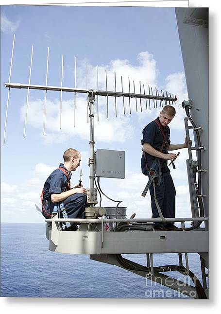 Technicians Perform Maintenance Greeting Card