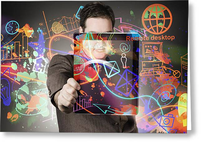 Technology Man With Network On Digital Tablet Greeting Card by Jorgo Photography - Wall Art Gallery