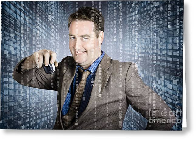 Technology Smart Business Man Using Computer Mouse Greeting Card by Jorgo Photography - Wall Art Gallery