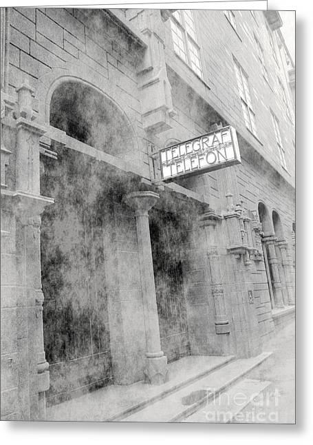 Telegraf Building In Foggy Oslo Greeting Card