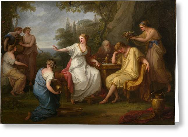 Telemachus And The Nymphs Of Calypso Greeting Card by Angelica Kauffmann