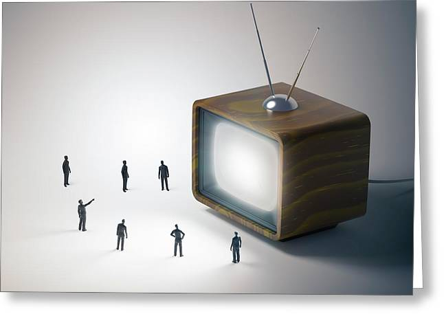 Television And Figures Greeting Card by Andrzej Wojcicki