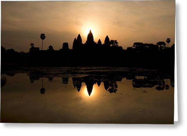 Temple At The Lakeside, Angkor Wat Greeting Card