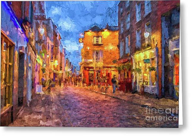 Temple Bar District In Dublin At Night Greeting Card
