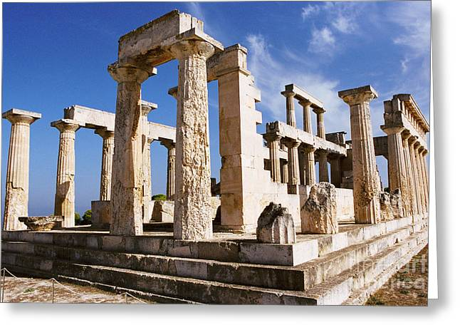 Temple Of Aphaia On Aegina Greeting Card by Paul Cowan