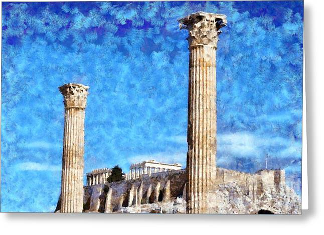 Temple Of Olympian Zeus And Acropolis Greeting Card by George Atsametakis
