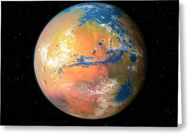 Terraformed Mars Greeting Card by Mark Garlick/science Photo Library