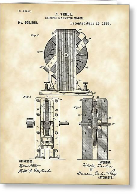 Tesla Electro Magnetic Motor Patent 1889 - Vintage Greeting Card