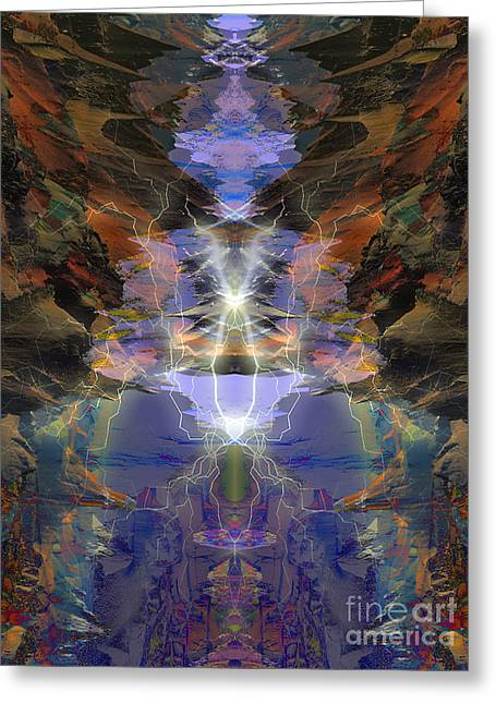 Greeting Card featuring the digital art Tesla's Coil by Ursula Freer