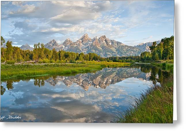 Teton Range Reflected In The Snake River Greeting Card