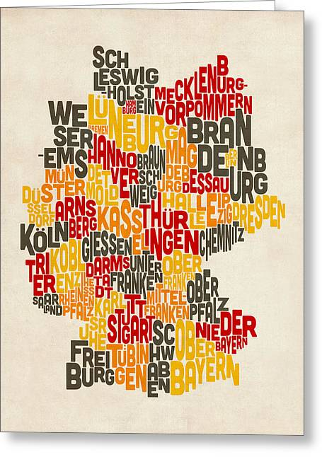 Text Map Of Germany Map Greeting Card by Michael Tompsett