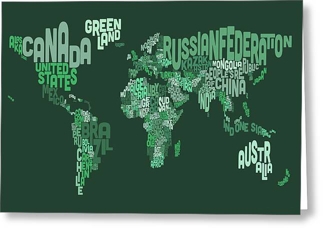 Text Map Of The World Map Greeting Card by Michael Tompsett