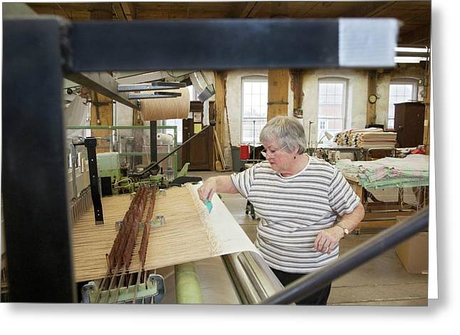 Textile Mill Loom Operator Greeting Card by Jim West