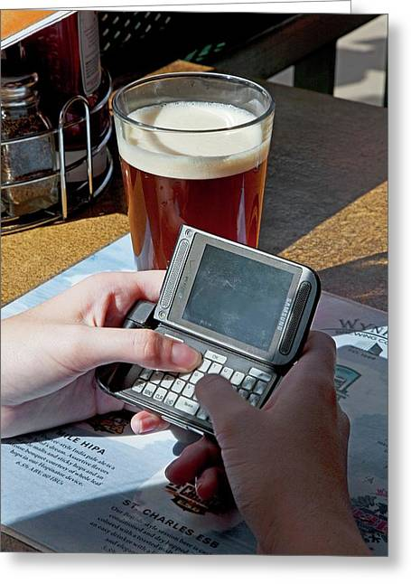 Texting At A Bar Greeting Card by Jim West