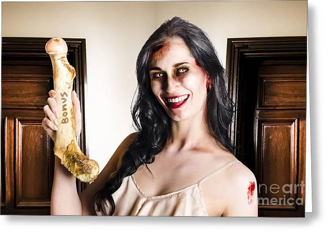Thankful Zombie Businesswoman With Bonus Greeting Card