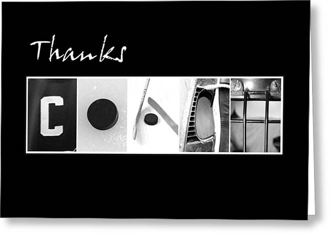 Thanks Hockey Coach Greeting Card by Kathy Stanczak
